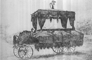 Lincoln's Funeral Hearse in Washington. It was pulled by six white horses.